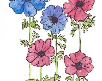 Original Artwork Watercolor and Ink Painting - Wildflowers Flowers - Blue and Red - Abstract Style - Nature Art