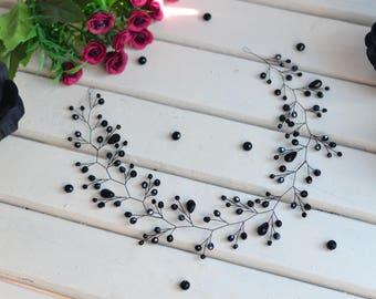 Long hair vine, wedding hair vine, Bridal hair vine, bridal hair accessories, Crystal hair vine, black hair vine, black tiara, black comb,