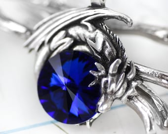 Dragon Necklace Sapphire Blue Swarovski Crystal Dragon Necklace - Pewter Pendant and Sterling Silver Pendant Birthstone