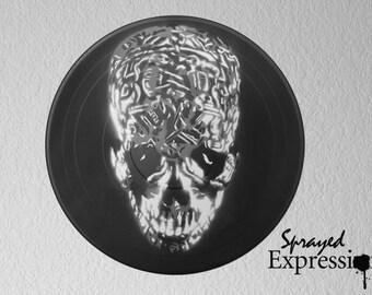 Tibetan Skull Vinyl Record Painting
