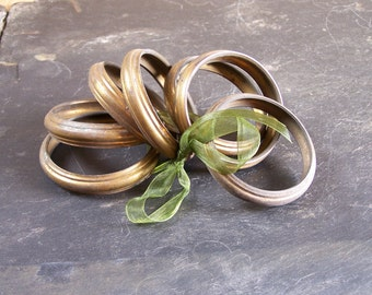 Lot de 7 anneaux de rideau en laiton massif | Diamètre intérieur 5 cm | vintage Made in France
