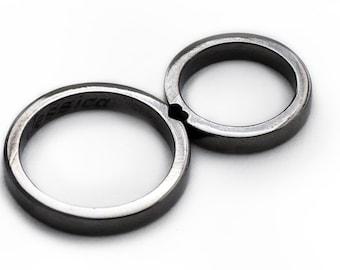 Black wedding ring set, Heart ring, Wedding bands, Mens wedding band, Antique silver ring, Matching rings, Black wedding ring, Promise rings