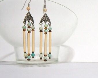 Pierce Earrings Dangle Southwest Earrings Chandelier Neutral Beaded Earrings