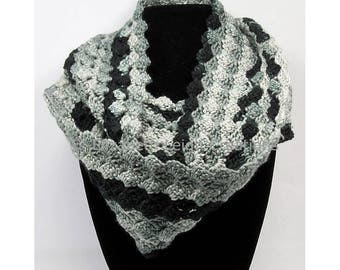 Shell Stitch Infinity Scarf, Ombre, 5 inches x 60 inches, 8 colors available
