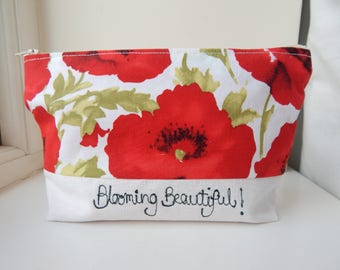 Makeup bag poppy print