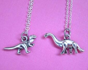 Rawr Dinosaur Silver BFF Necklace - Brontosaurus, Tyrannosaurus, T-Rex, Best Friends, Friendship necklace (T5)