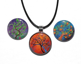 Magic Trees - Magnetic Pendant Necklace - with 3 inserts