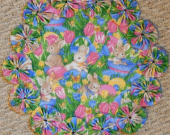 """Colorful Easter Flowers, Bunnies and Eggs 12"""" Yo Yo Doily"""