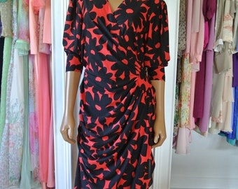 ON SALE 1980s Dress by Darcy Sheath Wrap Black and Red Daisy Print Day Dress /M