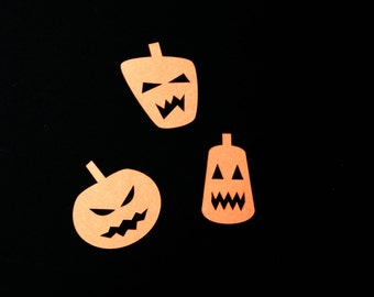 Halloween Jack o lantern cardstock paper pumpkin embellishments, large 2 inch size for party confetti / diy crafts 3 style shape assortment
