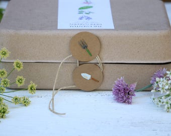 The Essential Herb Garden kit, annual herb seeds, perennial seed, gift for gardener, biodegradable packaging, indoor herb, culinary herbs