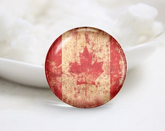 Handmade Round Canada Flag Photo Glass Cabochons (P3663)