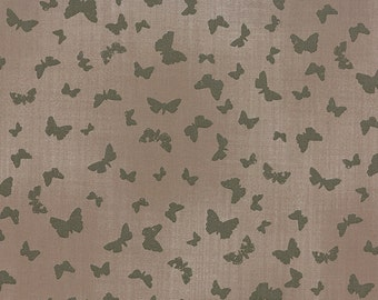 Butterfly Fabric - Field Guide Fabric -  Nature Flutterby by Janet Clare for Moda Fabrics 1364 15 Flaxin (dark gray)- Priced by the 1/2 yard