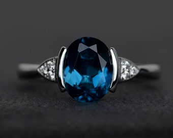 London blue topaz ring engagement ring blue gemstone rings oval blue topaz ring silver