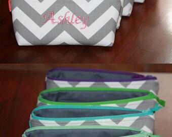 Set of 5 Personalized Bridesmaid Gift / Monogram Small zipper bag/ Custom made zipper Clutch/ Choose you favorite Designer Fabric.