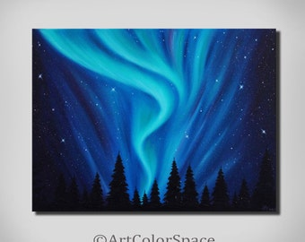 Starry night Aurora borealis painting Night sky Wall art Galaxy painting Northern lights Oil painting on canvas Landscape painting Gift idea