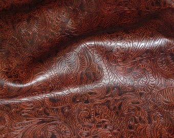 """Leather 5""""x11"""" Western Tool Floral Leaf pattern BLACK CHERRY Cowhide #218 3.5-4 oz/ 1.4-1.6 mm PeggySueAlso™ E2838-19 Limited"""