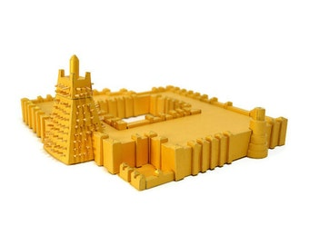 Timbuktu || Sankore Mosque assembled paper model || gold color with a slightly shiny metallic overcoat