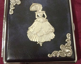 Lady in Waiting with Silver edging Faux Leather cigarette case / wallet / card holder  Vintage Blue leather / Renaissance