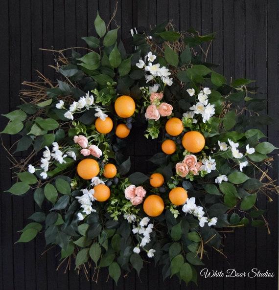 Summer Orange and Blackberry Garden Wreath for Front Door or Kitchen