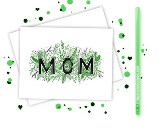 Mothers Day Card - Hand Illustrated - Mothers Day  - Mom Card