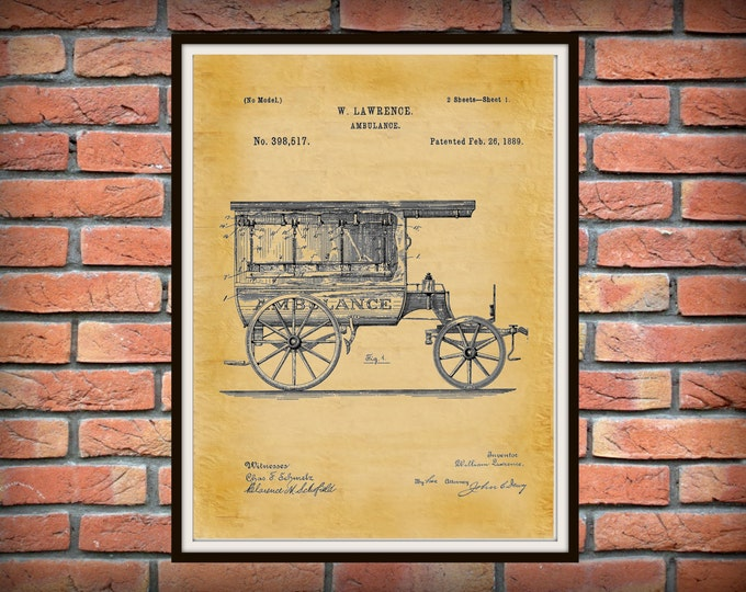 Featured listing image: Patent 1889 Ambulance Patent Print  - Doctors Office - Hospital Wall Art - Physician Art - EMT Patent Art - Medical Poster - EMS Wall Art