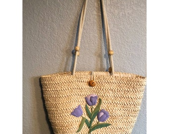 Straw Tulip Tote Palm Springs Style