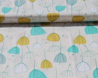 LITTLEST Coupon fabric cotton patchwork LITTLEST FLORAL Mint ivory mustard x1m