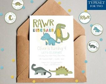 RAWR like a Dinosaur Birthday Invitation - Dino - Dinosaur Invitation - Happy Birthday - Birthday Party - Printable - Digital File Only
