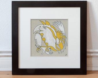 Drawing, art image 15/15 cm (5.9/5.9 inch) human, animal abstract