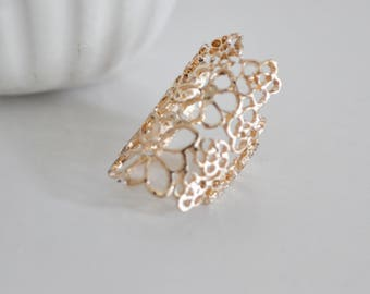 Flower lace adjustable rings - gold Adjustable ring