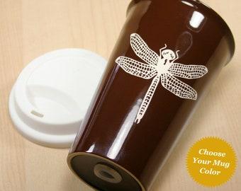 Dragonfly Travel Mug - insulated lidded coffee cup