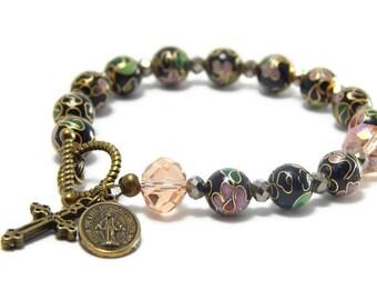 Rosary Bracelet, Catholic Jewelry, Catholic Rosary, Vintage Cloisonne beads, Catholic bracelet, Religious gift, Miraculous Medal bracelet