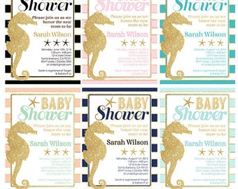 Seahorse, Beach Ocean Theme Baby Shower Invitation with Gold Seahorse and Starfish- Multiple Colors Available- Digital or Printed