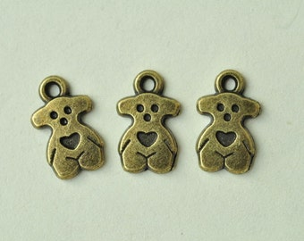 25pcs Antique Bronze Bear Charms with Love Heart Charms 14x8mm MM881