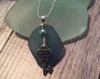 Blue Sea Glass Necklace With Key