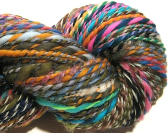 Handspun Yarn Waste Not Want Not A 216 yards rainbow yarn knitting crochet supplies waldorf doll hair art yarn merino wool