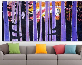 Large Purple Oil Painting, Birch Trees, Alaska Aspen Trees Forest, Sunset, White Owl, Abstract Living Room Painting 8x4, Scott Clendaniel
