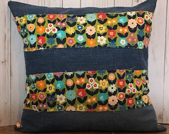 Flower Pillow Cover 20 x 20 inch pillow cover Green Blue Pillow Cover Denim Pillow Cover Floral Pillow Cover Child|Girl Pillow Cover