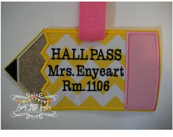 School, Teacher Gift, Hall Pass, Pencil Tag, Backpack Tag, Luggage Tag, Book Bag Tag