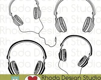 Music Headphones Digital Clip Art Retro Stamps
