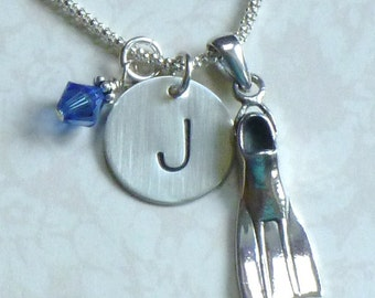 Scuba Diver Gift, Scuba Fin Hand Stamped Sterling Silver Initial Charm Necklace, Personalized Scuba Flipper Necklace, Scuba Diving Gift