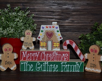 Personalized Gingerbread Christmas Decor Personalized Gingerbread Family Block Set-Personalized Christmas Decoration Personalized Holiday