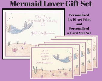 Gift Sets, Mermaid Gifts, Personalized Gift Sets, Personalized Mermaid, Mermaid Print, Mermaid Art, Mermaid Décor, Personalized Gifts