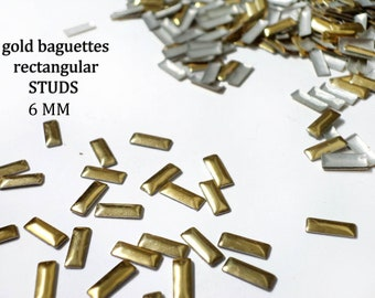 DIY Studs - 40 PCS Gold Rectangular Baguettes Studs 6 mm  - Iron On, Hot Fix, or Glue On