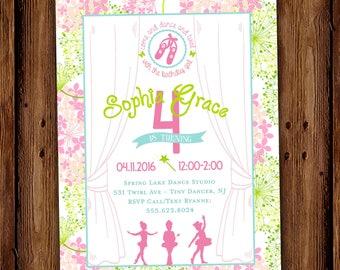 Ballerina Birthday Invitation - Ballet Birthday Party - Tiny Dancer Floral Ballet Birthday Invite - PRINTABLE or Printed Invitations