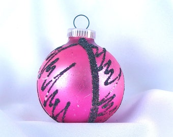 Vintage Christmas Ornament, Hot Pink and Black Holiday Ornament from West Germany