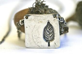 Sterling leaf necklace Boho Hippy jewelry