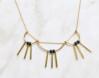 Dainty Gold and Black Scallops and Bars Necklace