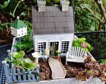 Cottage Garden Kit ~ Cottage House ~ Walkway ~ Birdhouse ~ Slide ~ American Flag ~ Bicycle ~ Bench ~ Gift ~ Plants not included